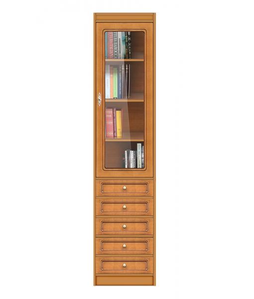 Space saving bookcase 1 door 6 drawers. Sku ec-com-m6