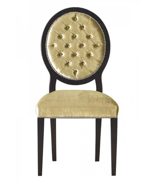 Upholstered dining chair in solid wood and high quality fabric. Sku L043-MS