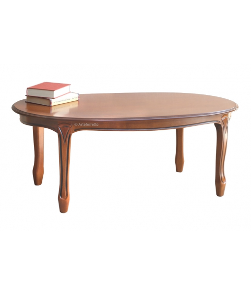 Oval shape coffee table in wood. Sku sim-02