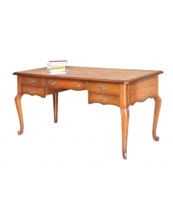 5 drawers writing desk, wooden writing desk, office desk, shaped desk, handcrafted desk, Italian design writing desk,