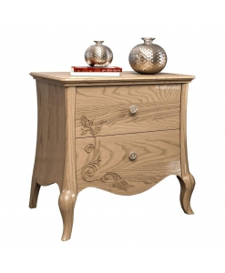 floral decor bedside table, wooden nightstand, wooden furniture, shaped bedside table