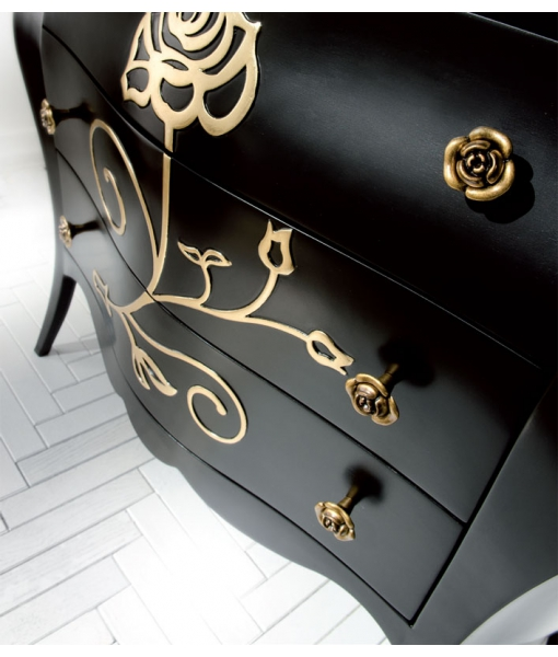black dresser, wooden dresser, black decorated dresser, chest of drawers, 3 drawers dresser, classic style furniture