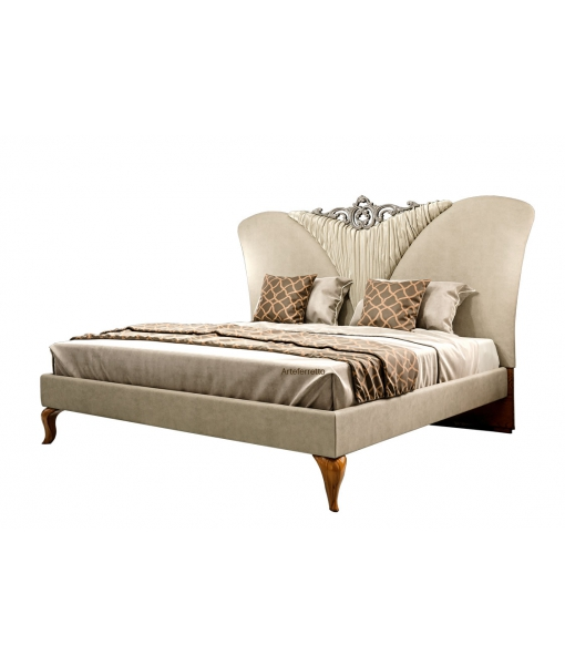 Double bed in wood with upholstered headboard. Sku mz-07
