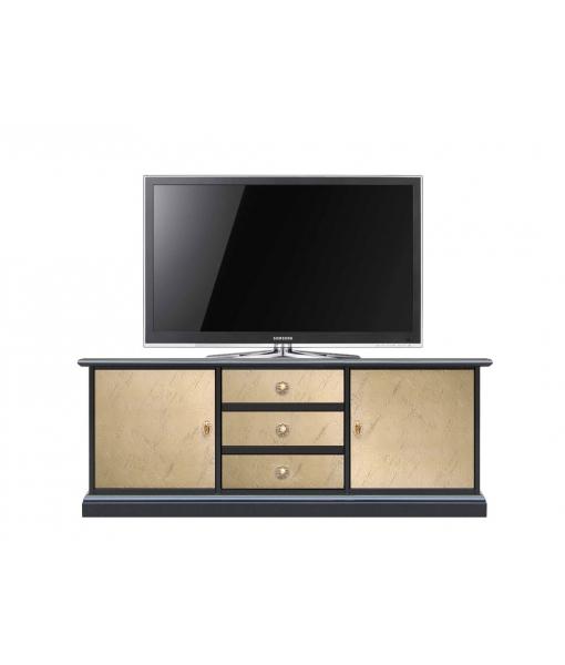 Two tone tv cabinet in wood. Sku 3058-bro