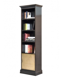 column bookcase in wood, space saving bookcase, bookshelf, wooden furniture, living room bookcase, black bookcase, Arteferretto furniture, Arteferretto bookcase, wooden bookcase,