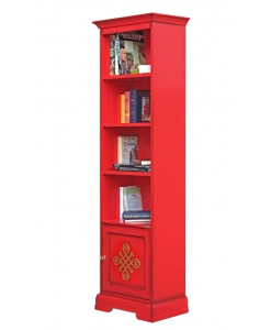 red bookcase in wood, wooden bookcase, Arteferretto bookcase, Arteferretto furniture, wooden furniture, red bookshelf, living room bookcase
