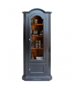 Corner unit, corner cabinet, glass door cabinet, corner cabinet with 2 doors, corner cabinet in black, black display cabinet, Italian design furniture, Classic style furniture, living room display cabinet, dining room display cabinet