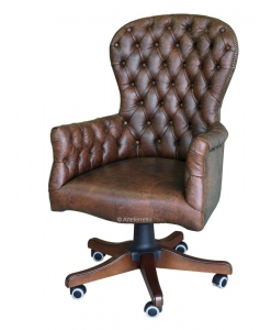 executive armchair with buttoned backrest, Italian design, wooden armchair, swivel armchair,