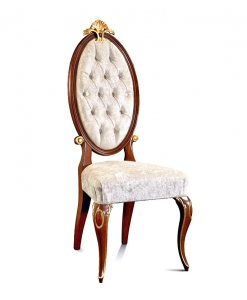 Upholstered dining chair, classic chair, Italian design chair, Italian design dining chair, solid beech wood chair, buttoned backrest chair, comfortable dining chair