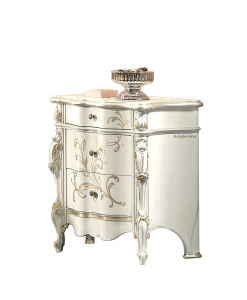 decorated bedside table, wooden bedside table, Italian design nightstand, classic design bedside table,
