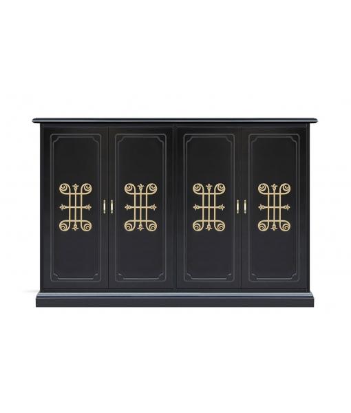 Wide shoe cabinet in wood. Sku 140-you-goldblack