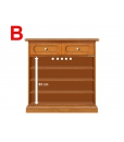 wooden cabinet, inside wooden cabinet, adjustable in height shelves