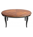 two tone inlaid dining table, wooden dining table, wooden table, oval table, oval dining table, classic style table