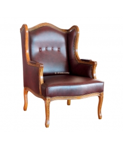 upholstered wing armchair, classic armchair, wing armchair, padded armchair, living room armchair, classic style armchair, classic furniture, wooden wing armchair