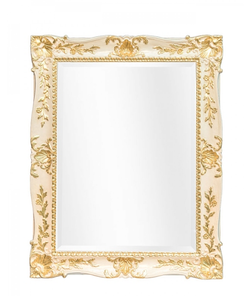 Lacquered mirror with gold leaf details. Sku 70052