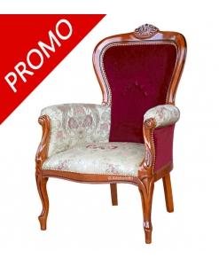 upholstered armchair, wooden armchair, classic style armchair, two tone armchair, classic armchair, living room armchair,