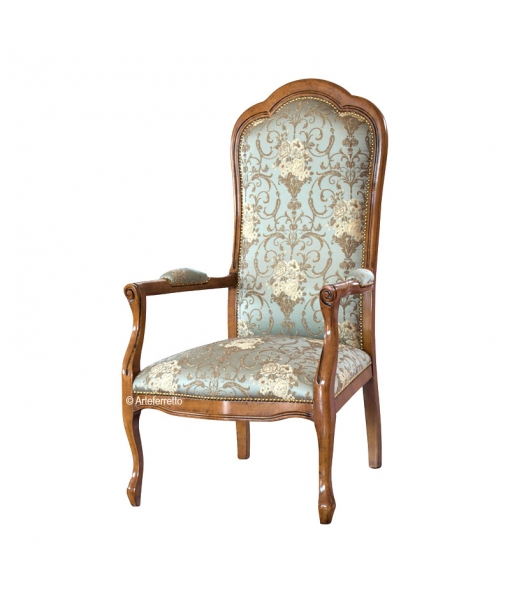 Upholstered armchair in solid wood. Sku gm-3a-33