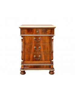 decorated bedside table, wooden bedside table, nightstand in wood, classic style bedside table