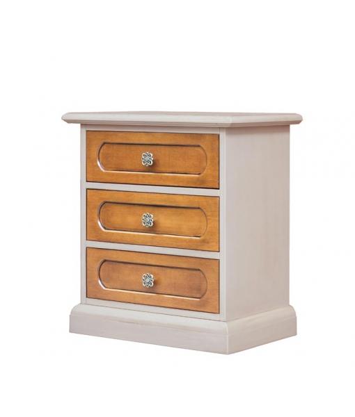 Two tone nightstand in wood. Sku 3060-bic