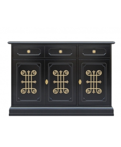 living room sideboard, black sideboard, wooden sideboard, living room cupboard in black colour, black and gold sideboard, decorated sideboard, Arteferretto sideboard, Arteferretto furniture