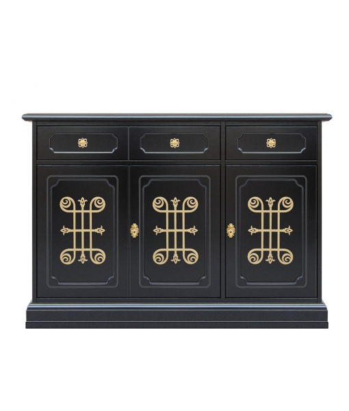Living room sideboard in black and gold. Sku 3076-n-you