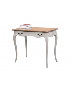 two tone office desk, wooden desk, writing desk, wooden furniture for office, shaped desk, 2 drawers desk,