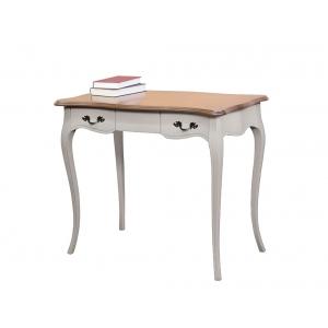 two tone office desk, wooden desk, writing desk, wooden furniture for office, shaped desk, 2 drawers desk,