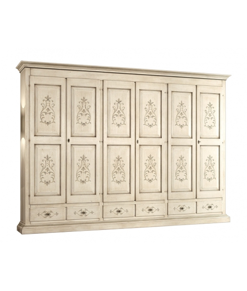 Decorated wardrobe in solid wood. Sku e-9641