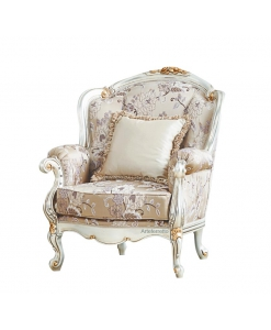 luxury armchair, upholstered armchair, living room armchair, classic style armchair, padded armchair, armchair with golden details