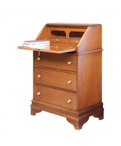 flap cabinet with drawers, wooden cabinet, wooden desk, chest of drawers with flap, flap unit in wood, entryway cabinet, flap desk
