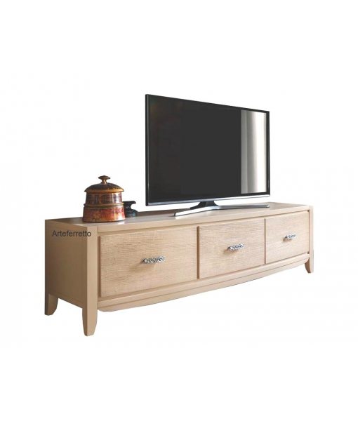 3 drawer entertainment unit in wood. Sku v10-t