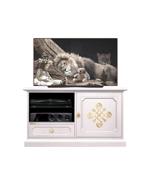 Decorated TV unit in wood. Sku 05-you-to