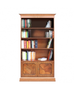 wood bookcase, wooden bookcase, office bookcase, living room cabinet, living room bookcase, briar root, briar root furniture, Arteferretto furniture, Arteferretto bookcase, wooden furniture, classic style bookcase, 2 door bookcase, wooden cabinet