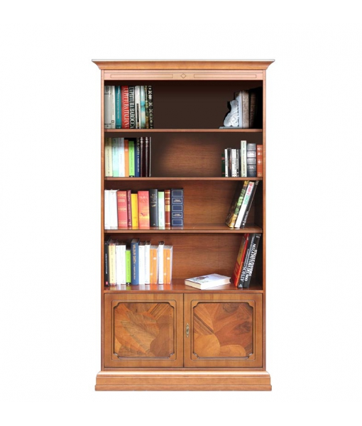 Wood bookcase with briar root doors. Sku 201-RA