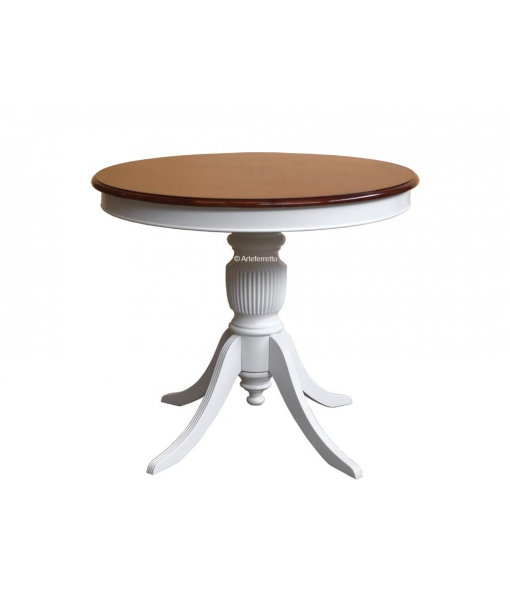 two tone dining table, dining table 90 cm diameter, rounded table, two tone table