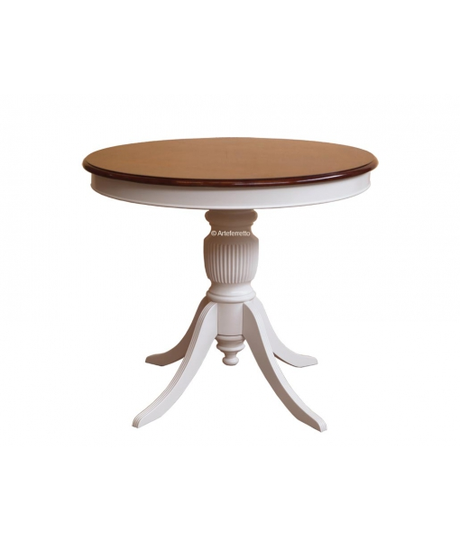 Two tone rounded dining table 90 cm. Sku 270-BIC90. Taupe and cherry colour