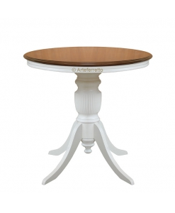 two tone round table, wooden dining table, Classic style dining table, rounded table, two tone,