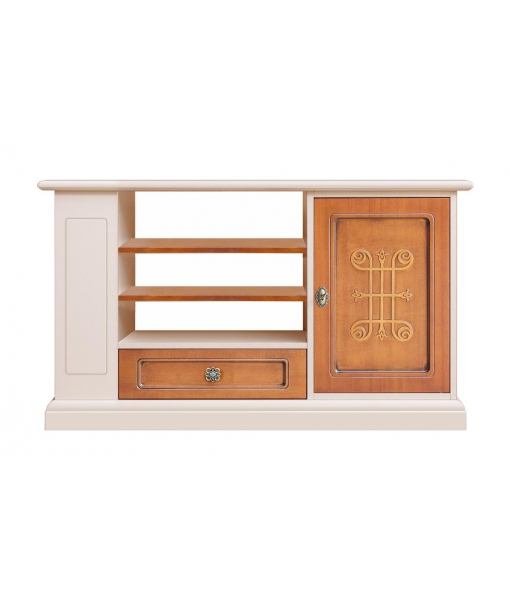 two tone Tv unit, TV stand, TV unit in wood, wooden TV stand, TV cabinet with side shelves, Arteferretto TV cabinet, Arteferretto living room furniture
