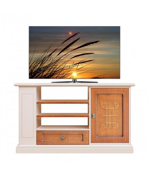 Two tone TV unit with side shelves. Sku 3656-you-tortora