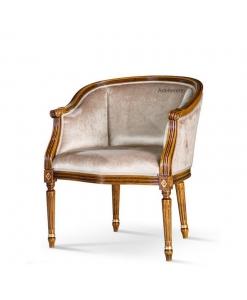 Tub armchair imperial style, wooden armchair, upholstered armchair, Artigiani Veneti Riuniti armchair, beech wood armchair, living room tub armchair, classic tub armchair