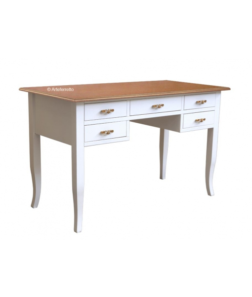 Two tone writing desk in wood. Sku fa-363-bic. Cherry top and white structure