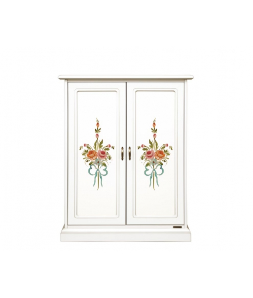 Decorated shoe cabinet in wood, handmade floral decorations. Sku 119-dec