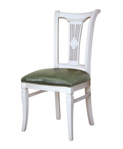 lacquered dining chair, wooden chair, wooden dining chair, kitchen chair, solid wood chair, upholstered chair, classic style chair, Italian design chair, carved backrest chair, white chair