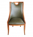 living room chair in genuine leather, wooden chair, upholstered chair, living room armchair, Italian design chair