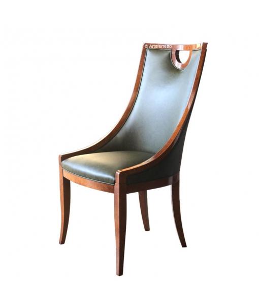 Living room chair in genuine leather. Sku af-ab01-BUL