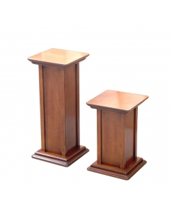 Couple of pedestal stands in wood, wooden pedestal stands, wood support for plants